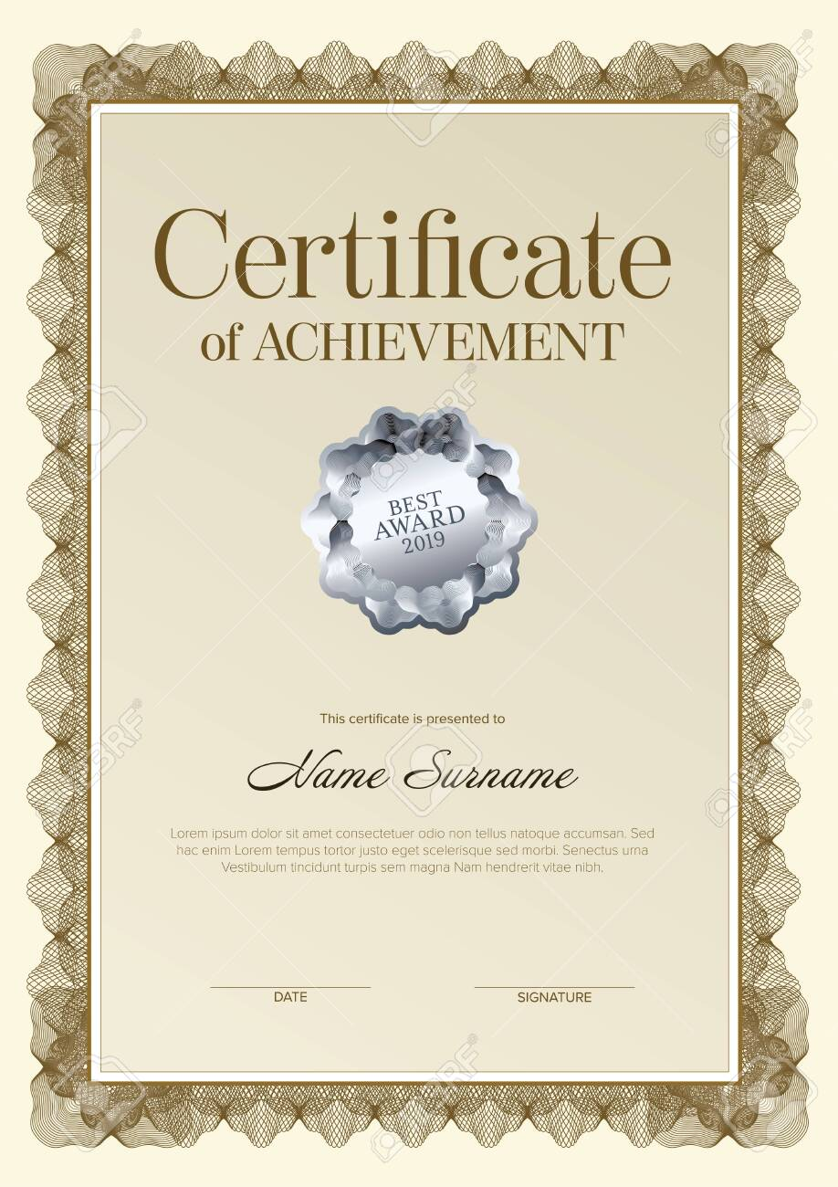 Modern certificate of achievement template with place for your content - golden design vertical version with silver seal - 141428594