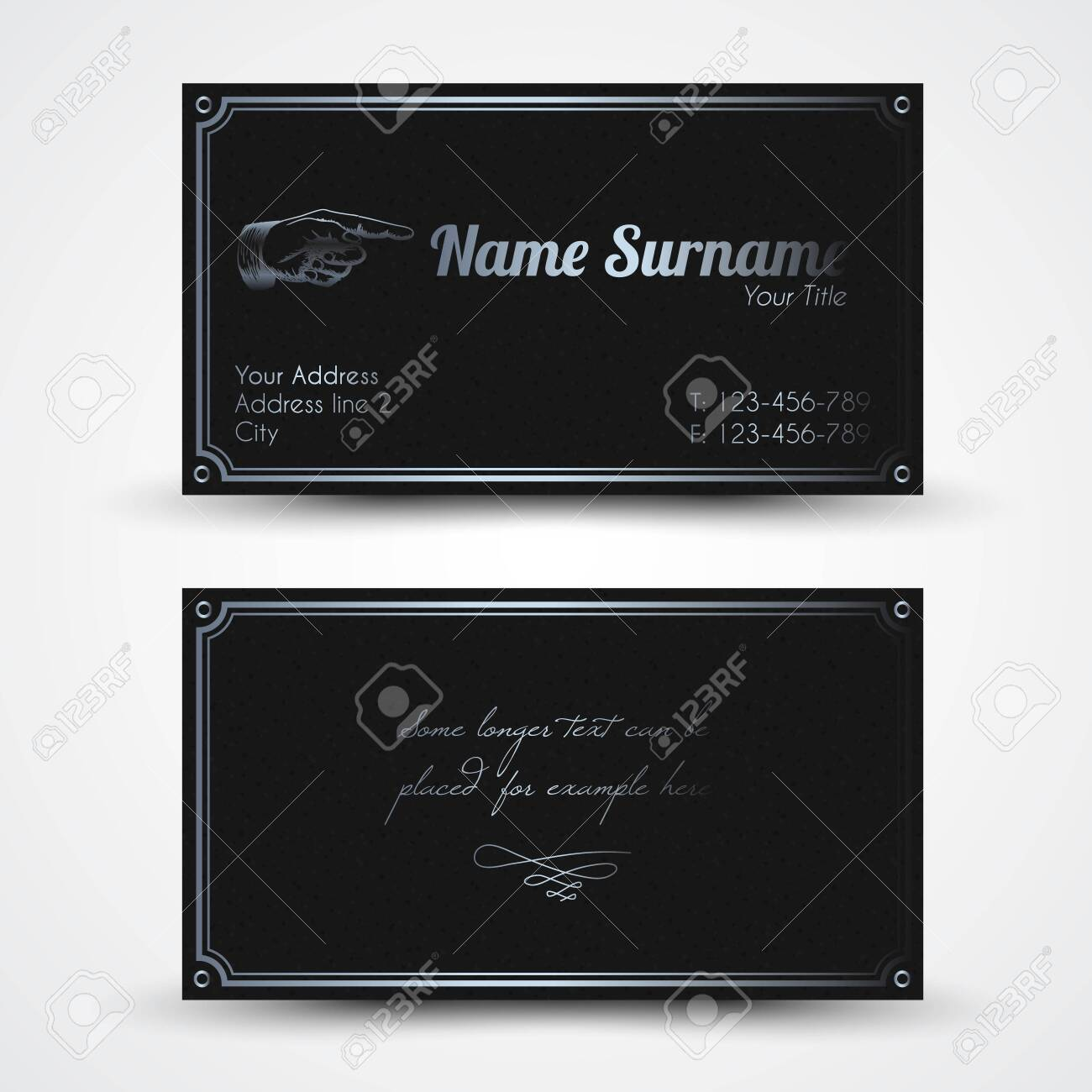 Vector old-style retro vintage business card - both front and back side, dark with silver color - 146959276