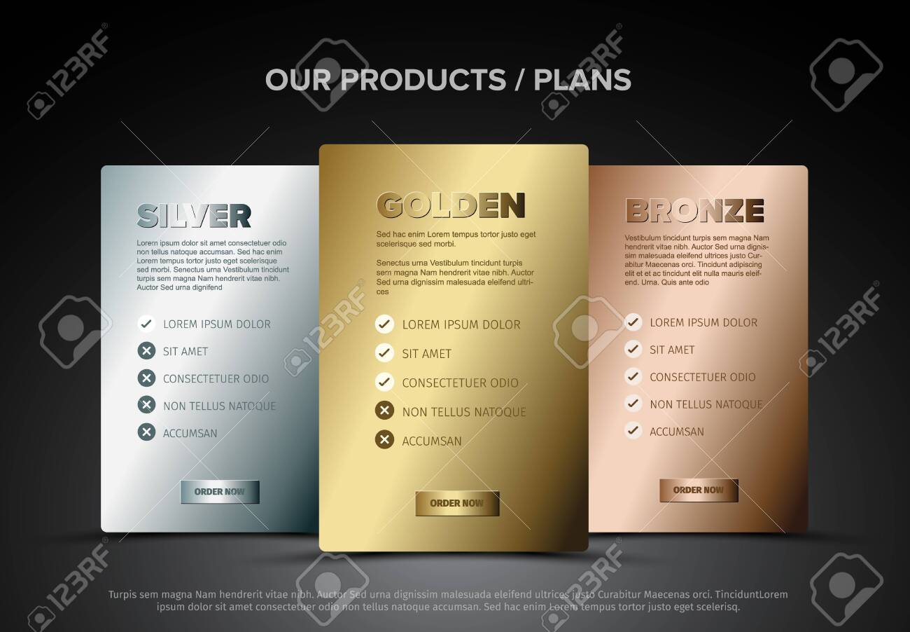 Product features schema template cards with three services, feature lists, order buttons and descriptions - metallic version - 148460966