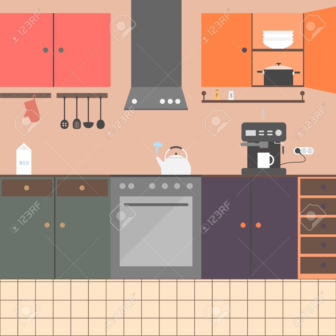 Interiore Della Cucina Con Mobili, Elettrodomestici, Piatti. La ...