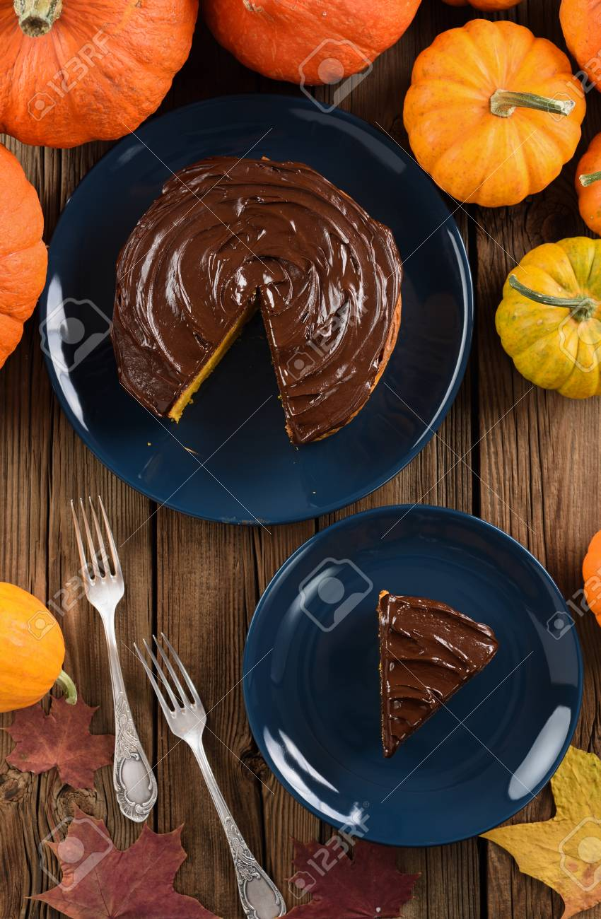 Delicious Chocolate Cake Served On Dark Blue Plates With Bright Stock Photo Picture And Royalty Free Image Image 90165730
