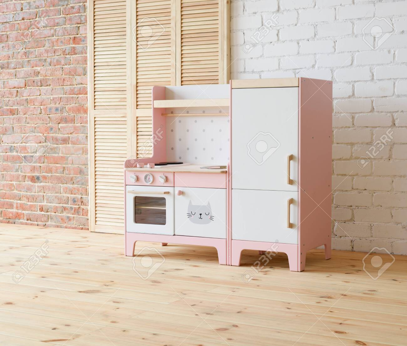 Play Furniture For Children Pink And White Wooden Toy Kitchen