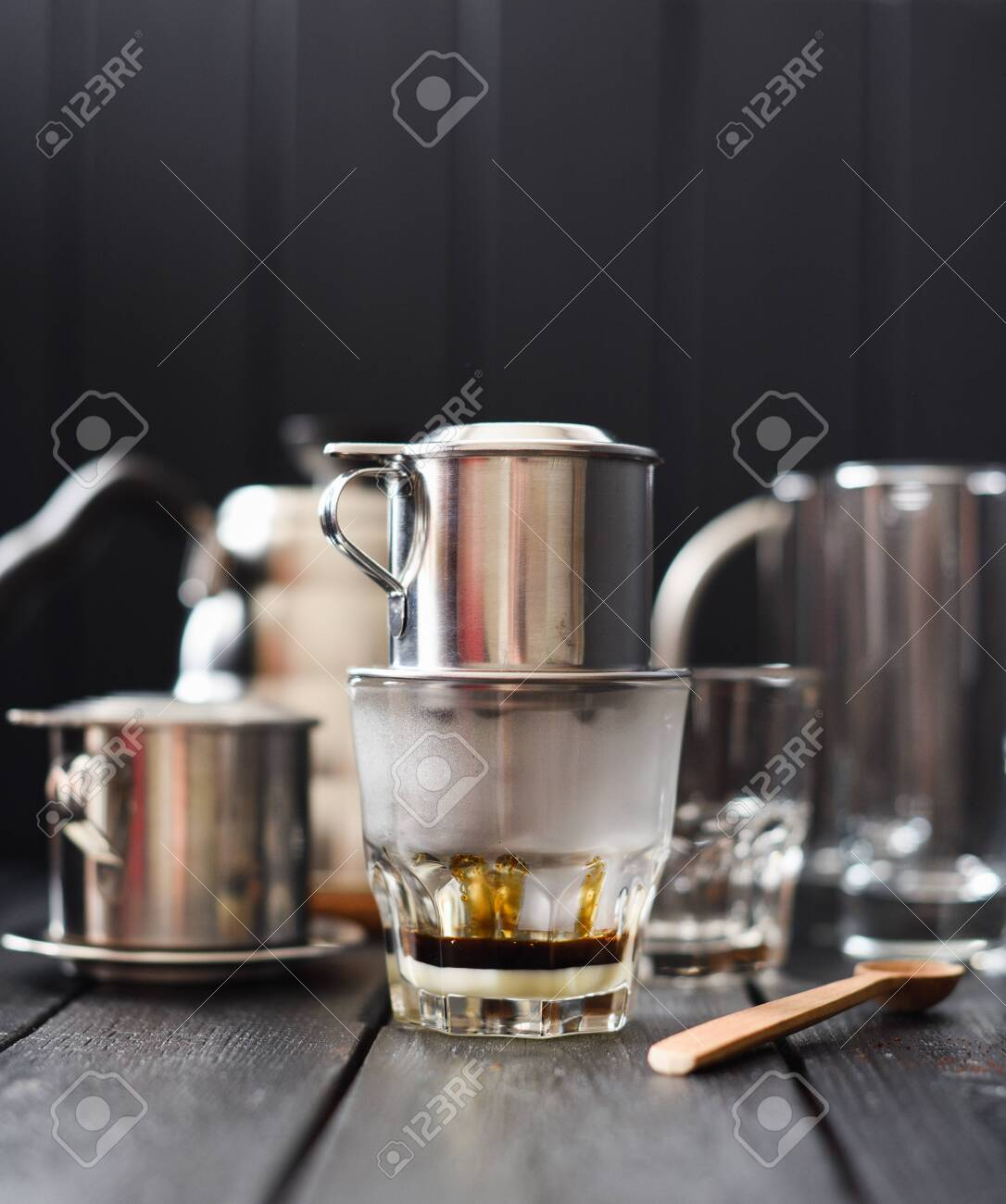 Preraring Drip Coffee Vietnamese Style Hot Black Coffee Dripping Stock Photo Picture And Royalty Free Image Image 127748434