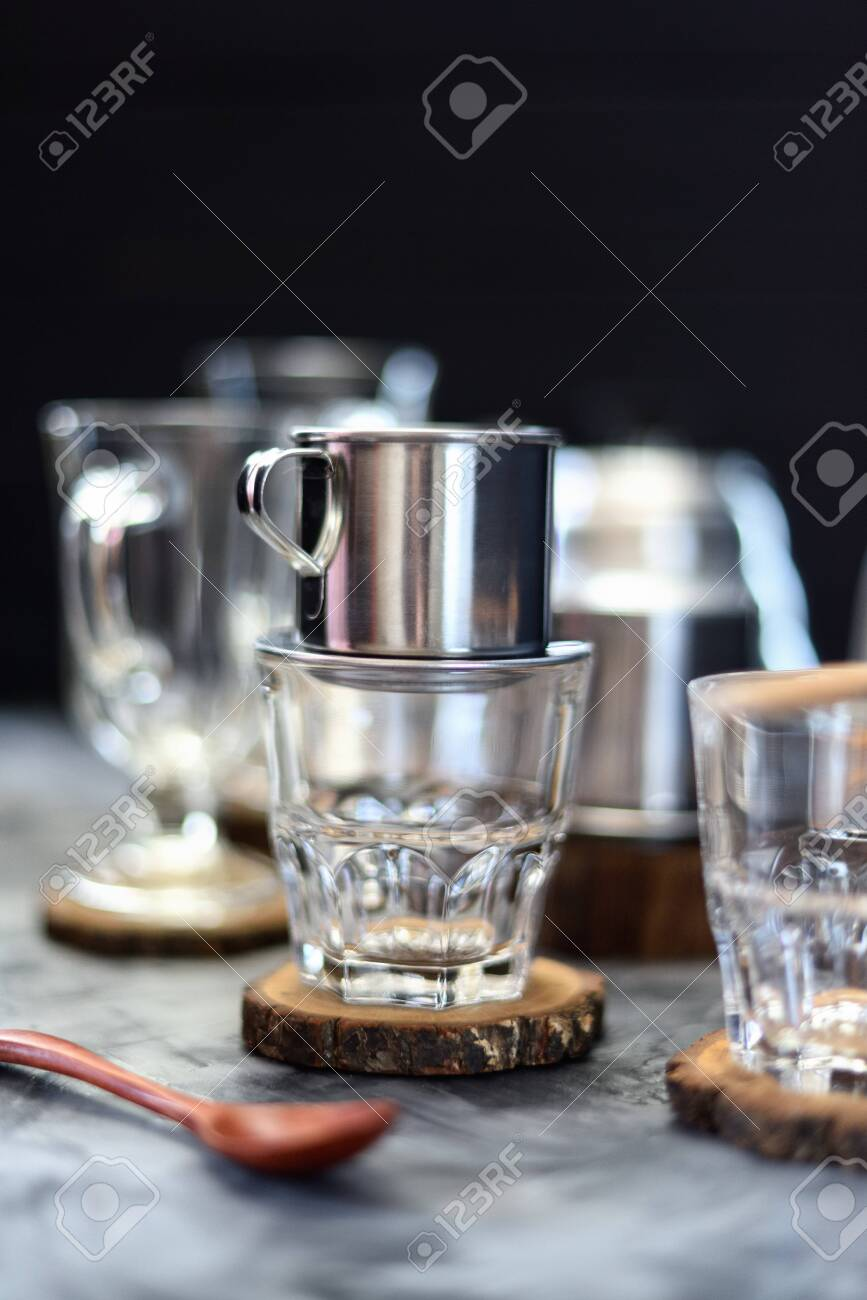 Making Drip Coffee Vietnamese Style Metal Coffee Maker Phin Stock Photo Picture And Royalty Free Image Image 128801072