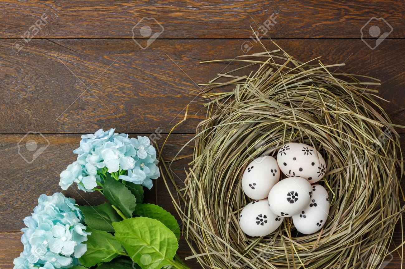 Top View Easter BackgroundHappy Eggs Pained On Nest Also
