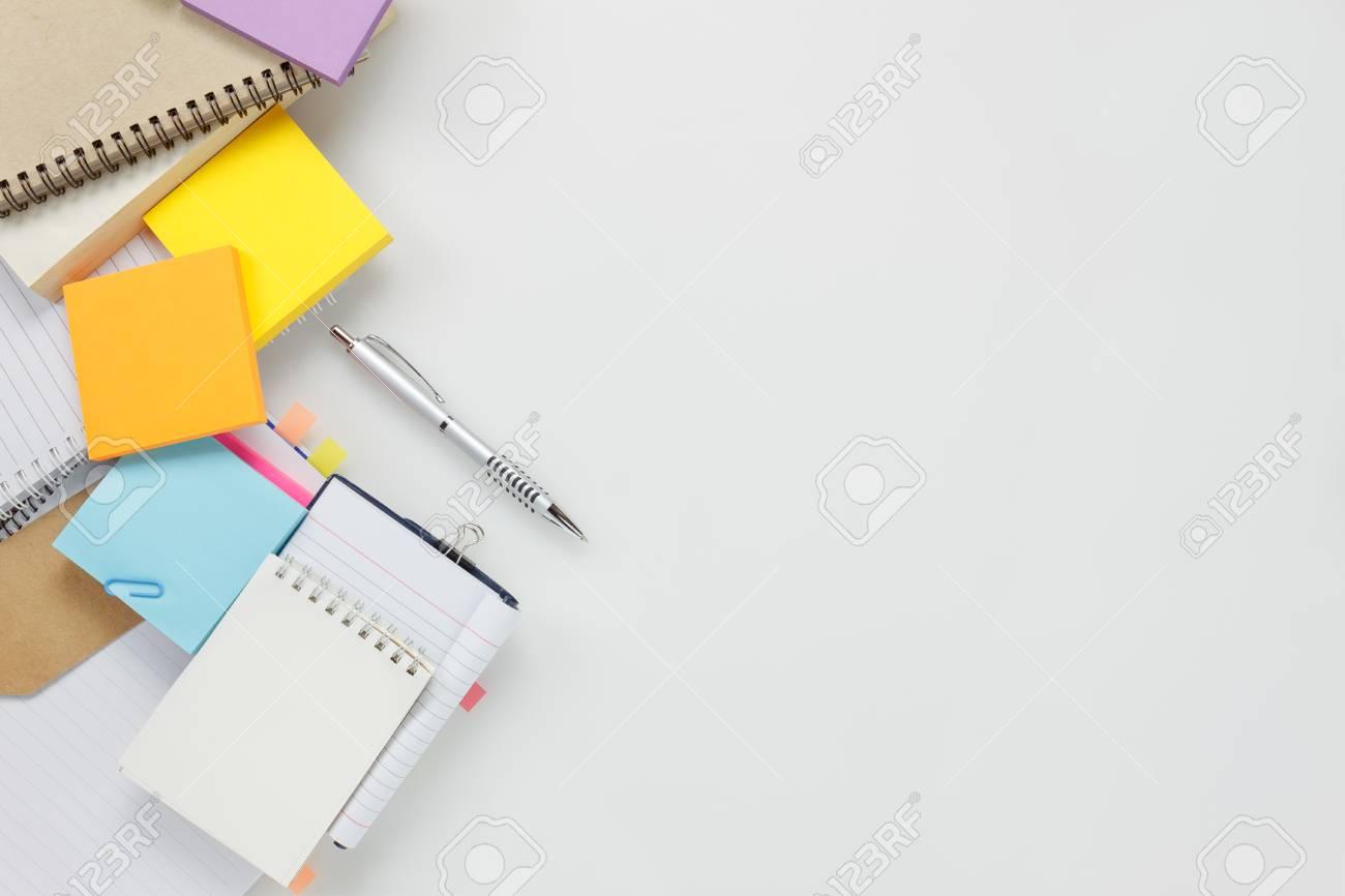 Awe Inspiring Top View Accessories Business Office Desk Notebook Pen Paper Download Free Architecture Designs Terchretrmadebymaigaardcom