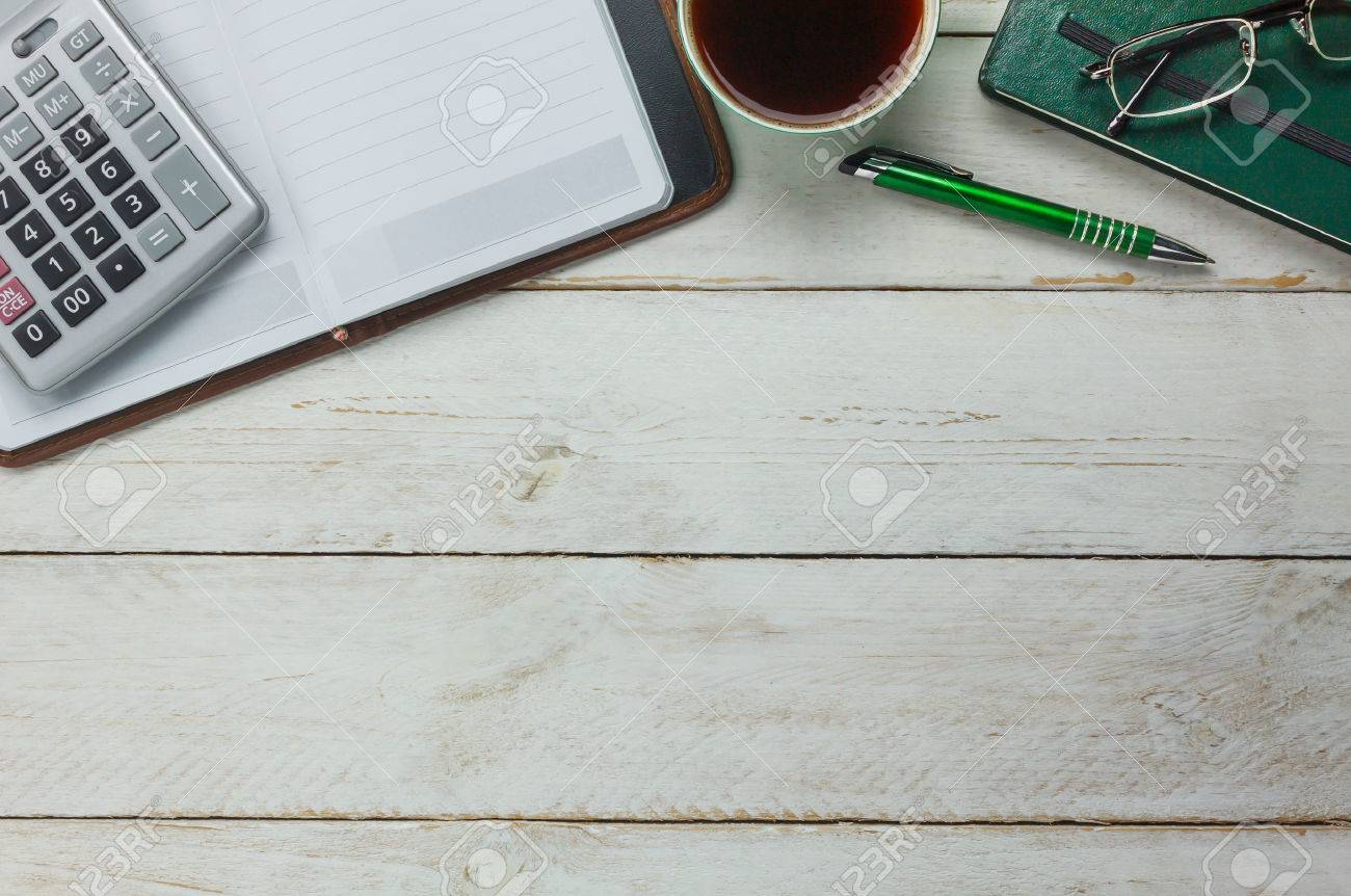 Overhead van accessoires zakelijk bureau tafel tafel achtergrond