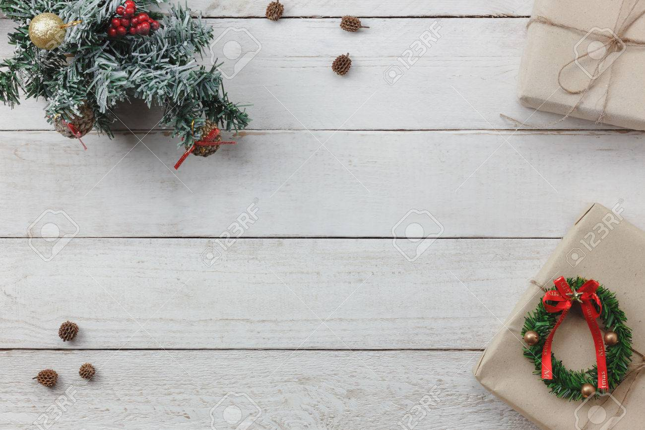 Christmas Top View.Top View Of Decoration Happy New Year And Merry Christmas Background Mix