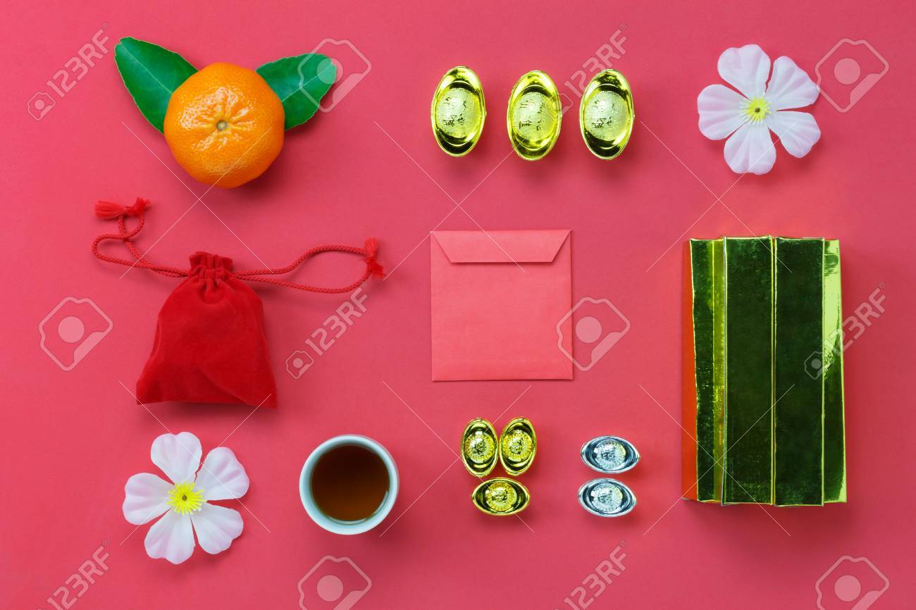 flat lay of accessory items for lunar chinese new yeardifference items on the
