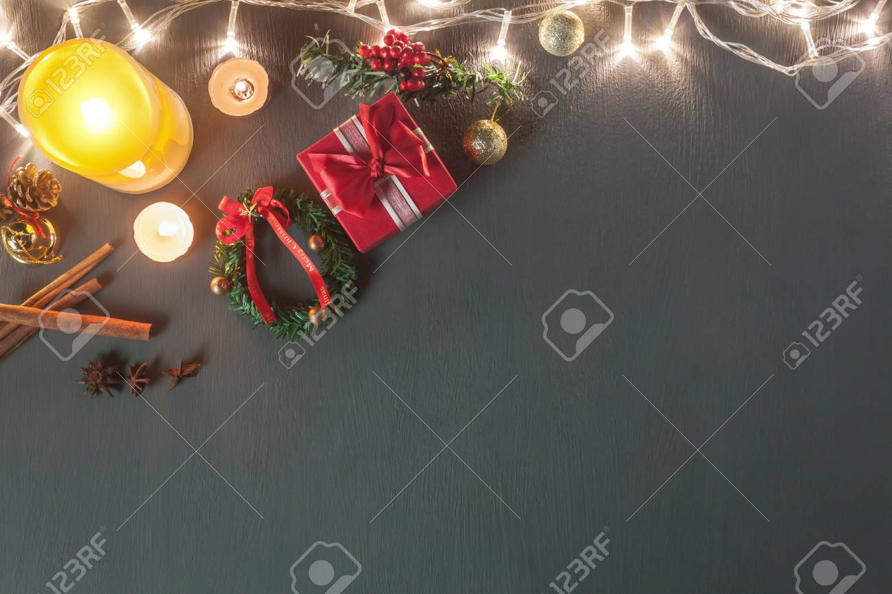 stock photo table top view image of christmas decoration ornament happy new year background conceptlighting candle withe essential items for season