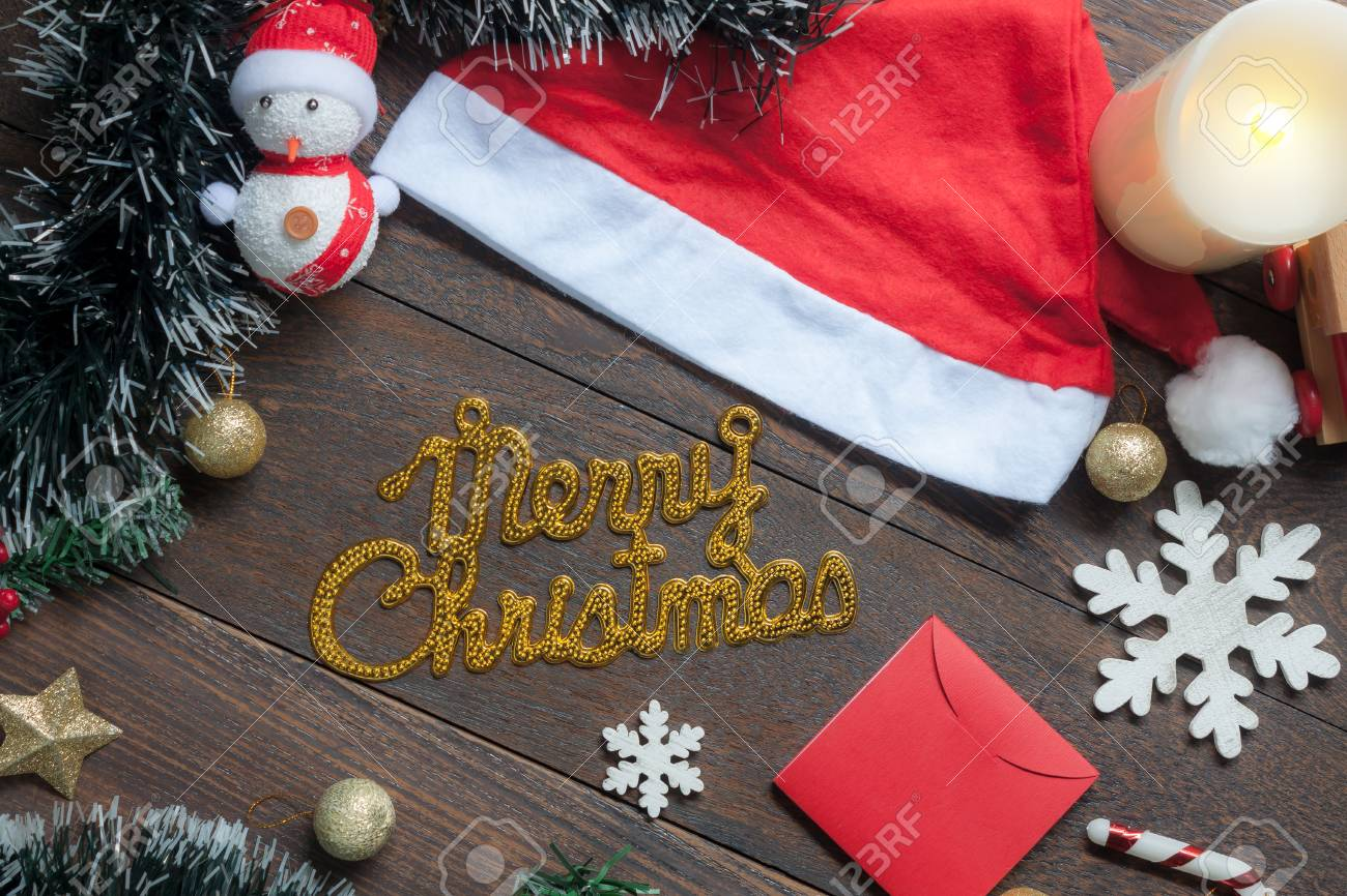 Christmas Top View.Table Top View Image Of Merry Christmas Text With Decoration