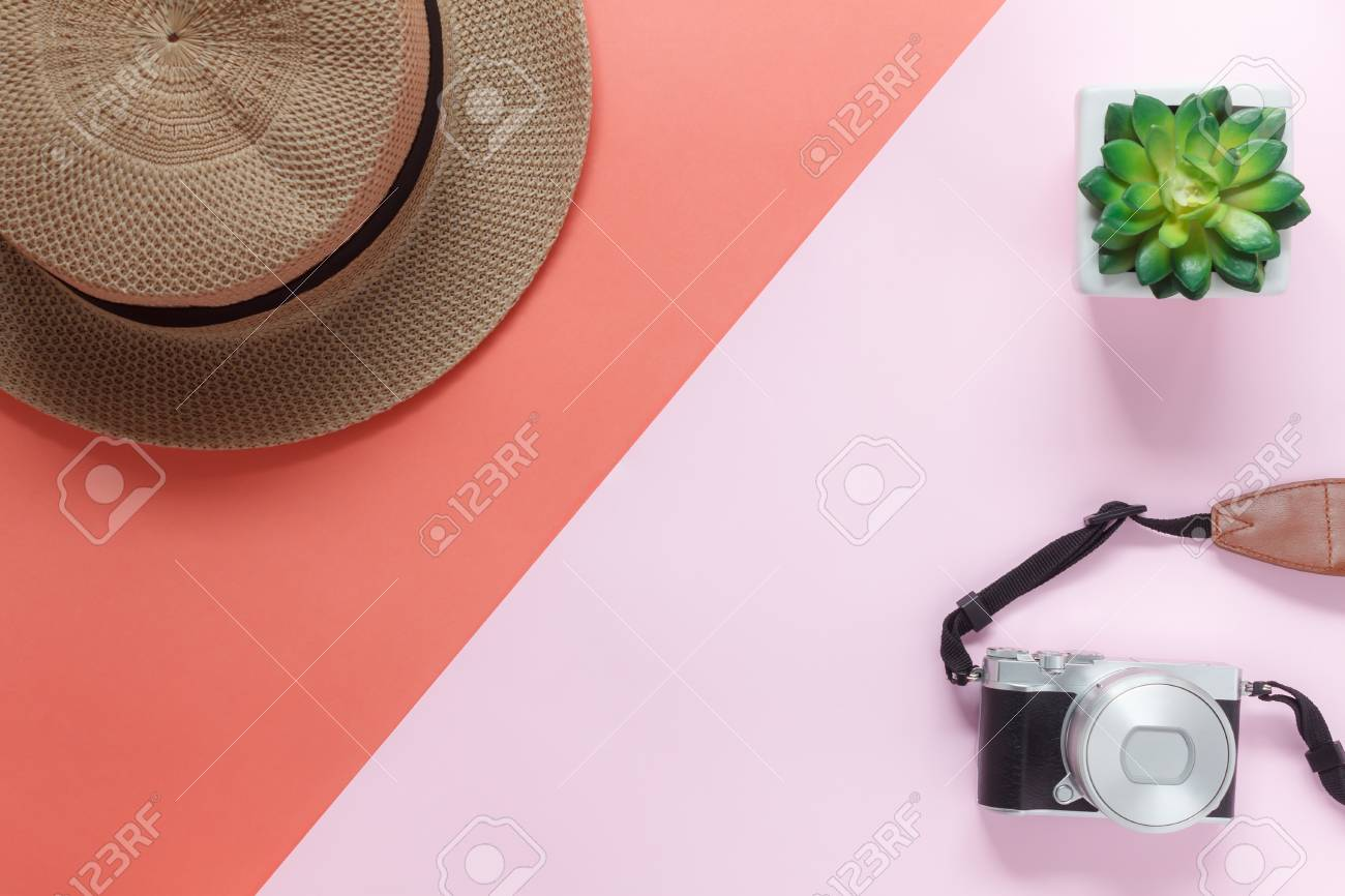 78653ace0ef Table top view accessory of clothing women plan to travel in holiday  background.Beauty   Fashion concept.Flat lay of camera with many essential  items hat ...