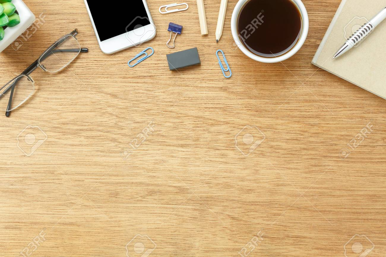 office table top view. Unique View Stock Photo  Table Top View Aerial Image Stationary On Office Desk  Background ConceptFlat Lay Objects The Cup Of Coffee With Essential Accessory Inside Office Top View I