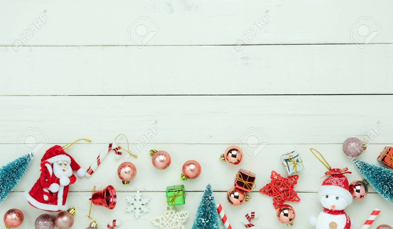 Essential Christmas Decorations.Table Top View Of Merry Christmas Decorations Happy New Year