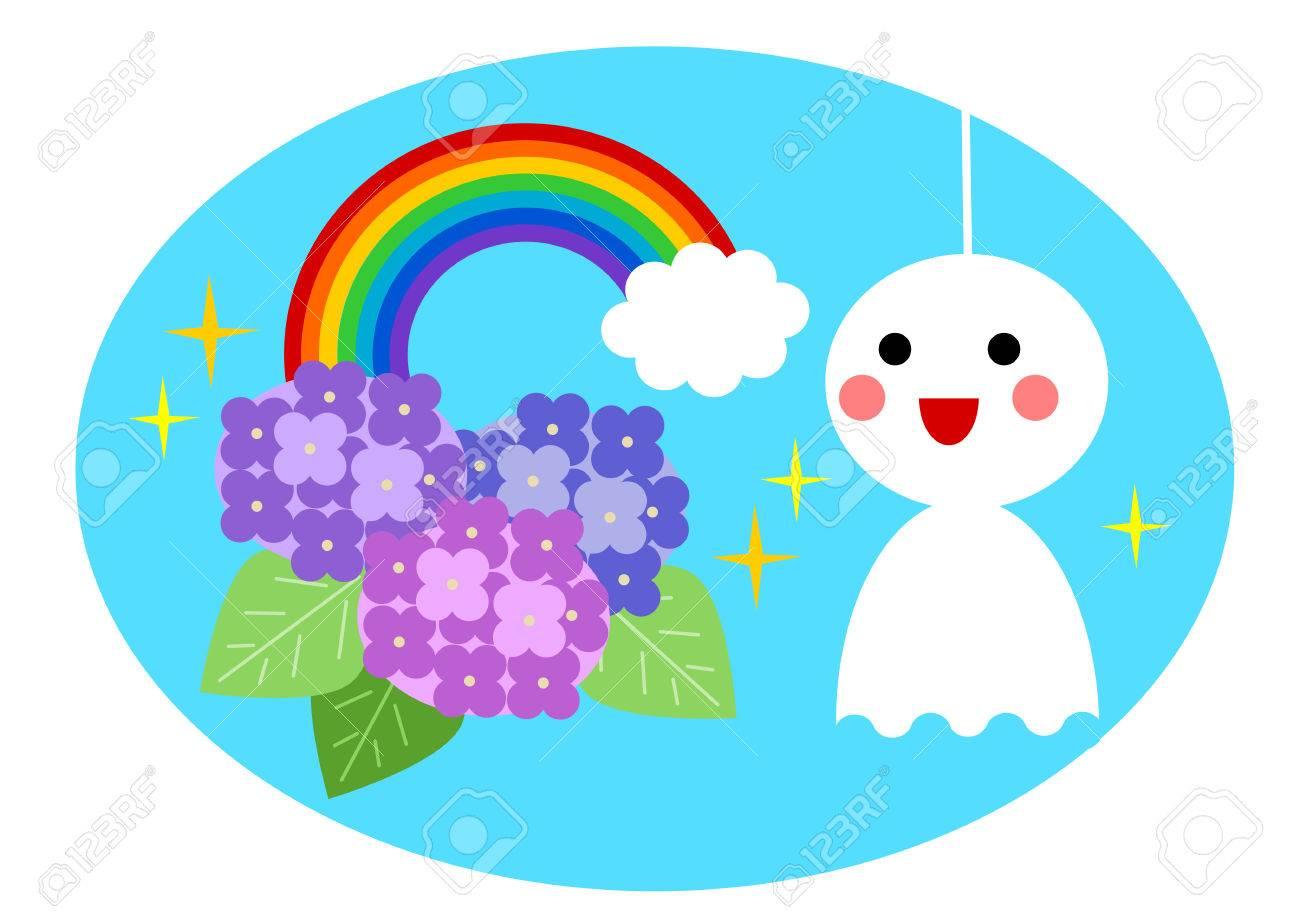 梅雨の季節と虹のイラストのイラスト素材ベクタ Image 58377146