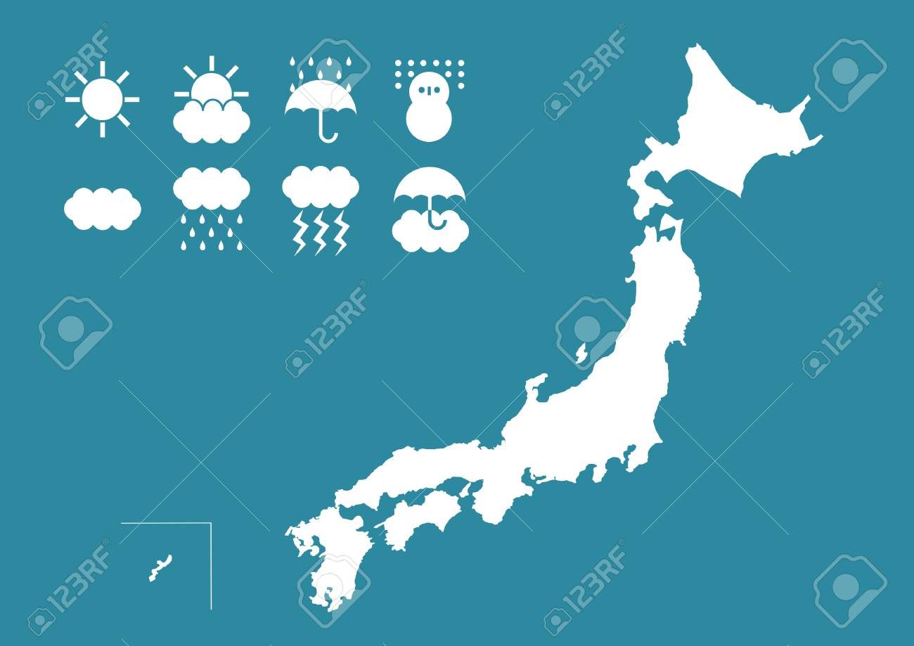 Japanese Map And Icon Of The Weather Stock Photo Picture And