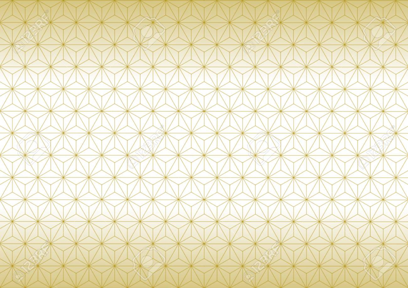 Geometric hemp-leaf pattern gold - 62224755
