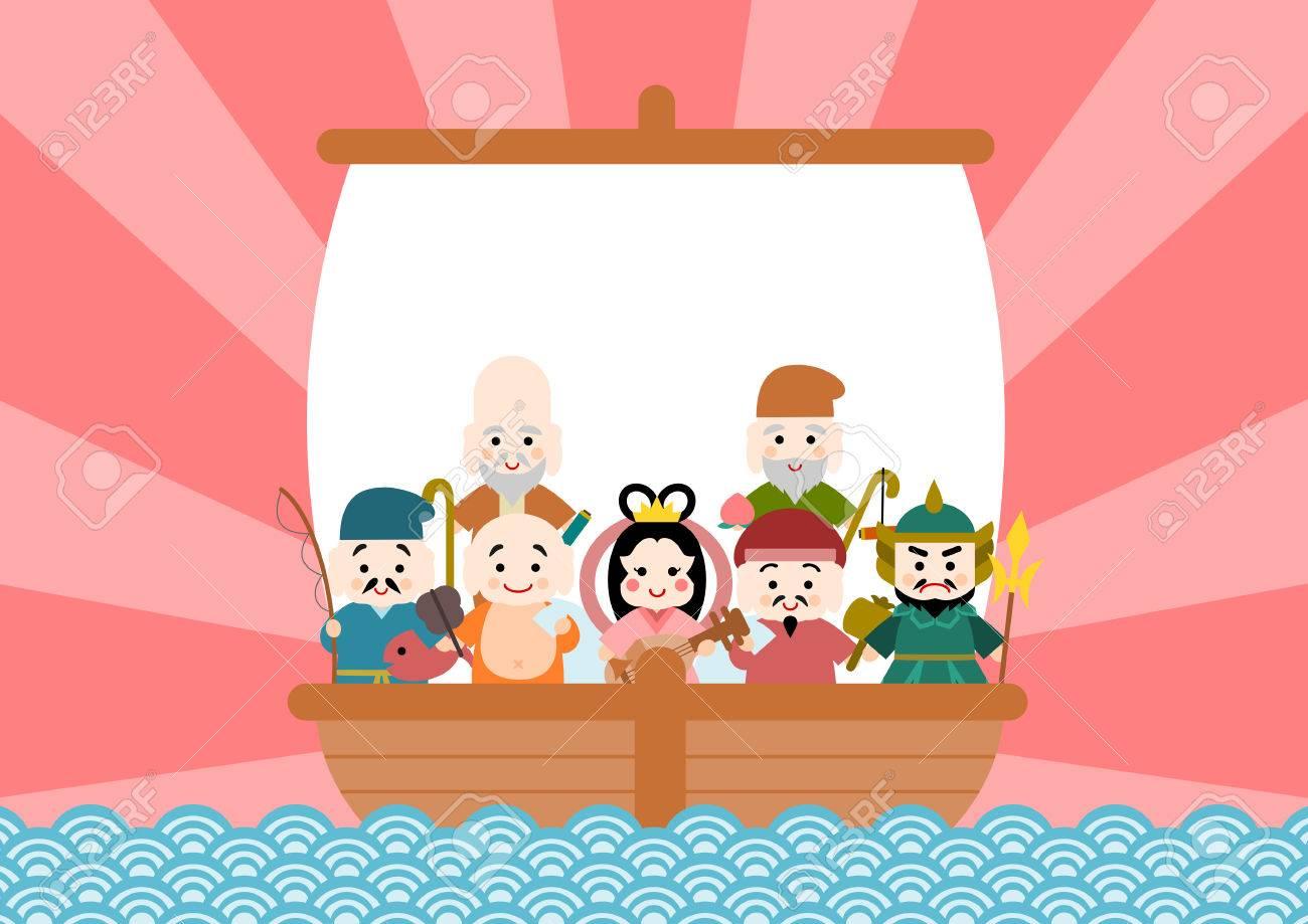 宝船と七福神のイラストのイラスト素材ベクタ Image 66590533