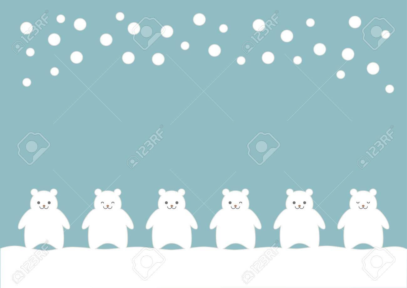 シロクマと雪 空色の背景 のイラストのイラスト素材ベクタ Image