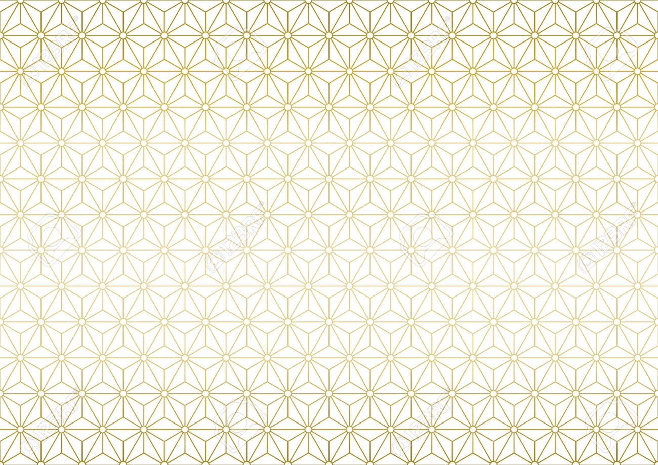 Japanese traditional pattern. Gold color background vector illustration. - 158651316