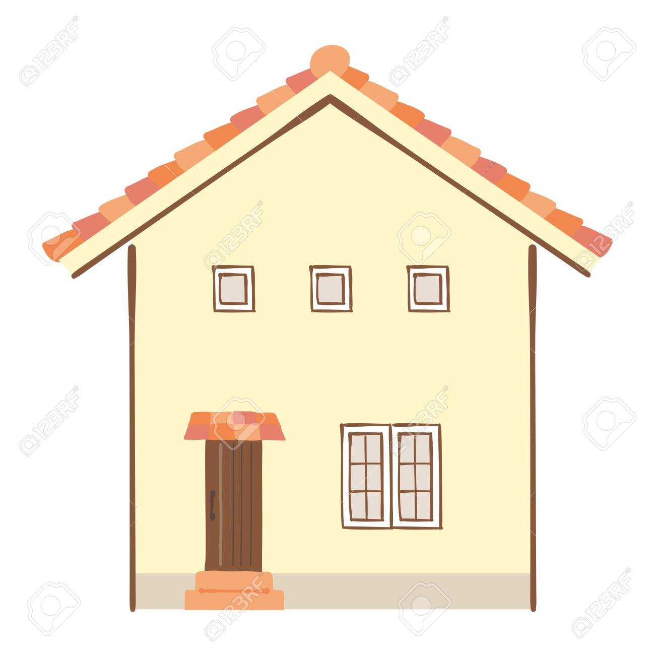 Illustration of houses with red roof - 133301516