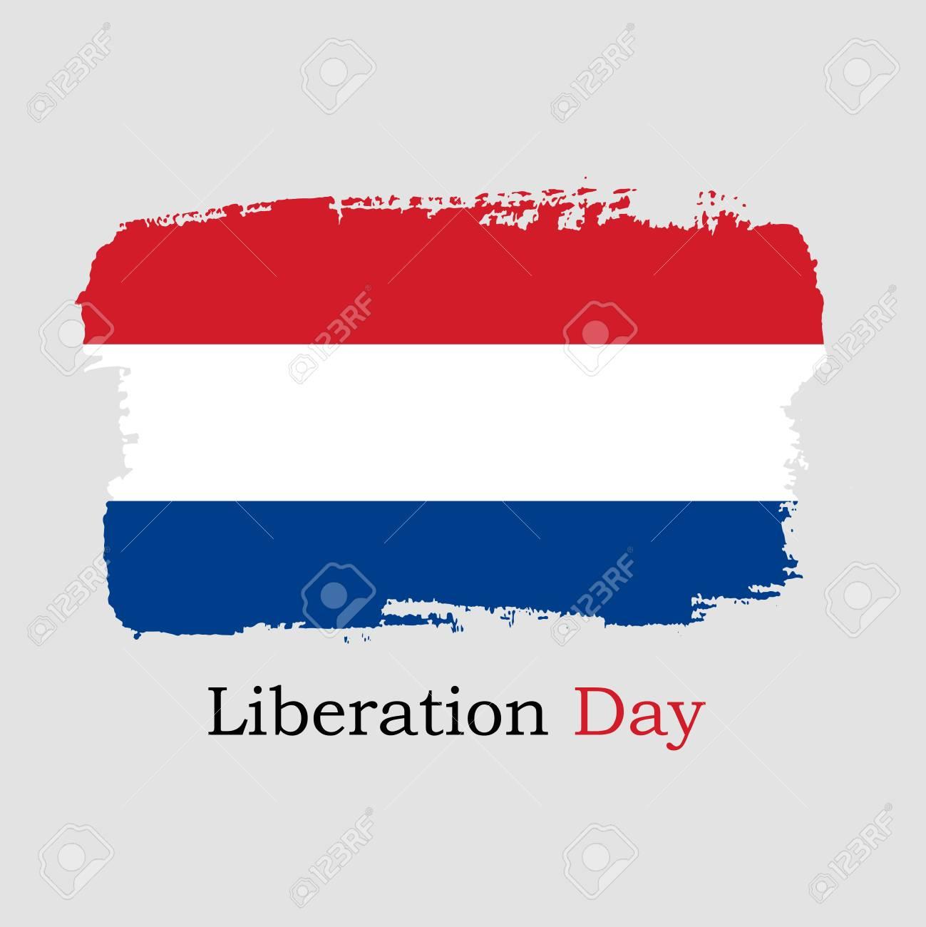 Vector Illustration. Hand draw Netherlands flag. National Netherlands banner for design. Liberation Day - 101623903
