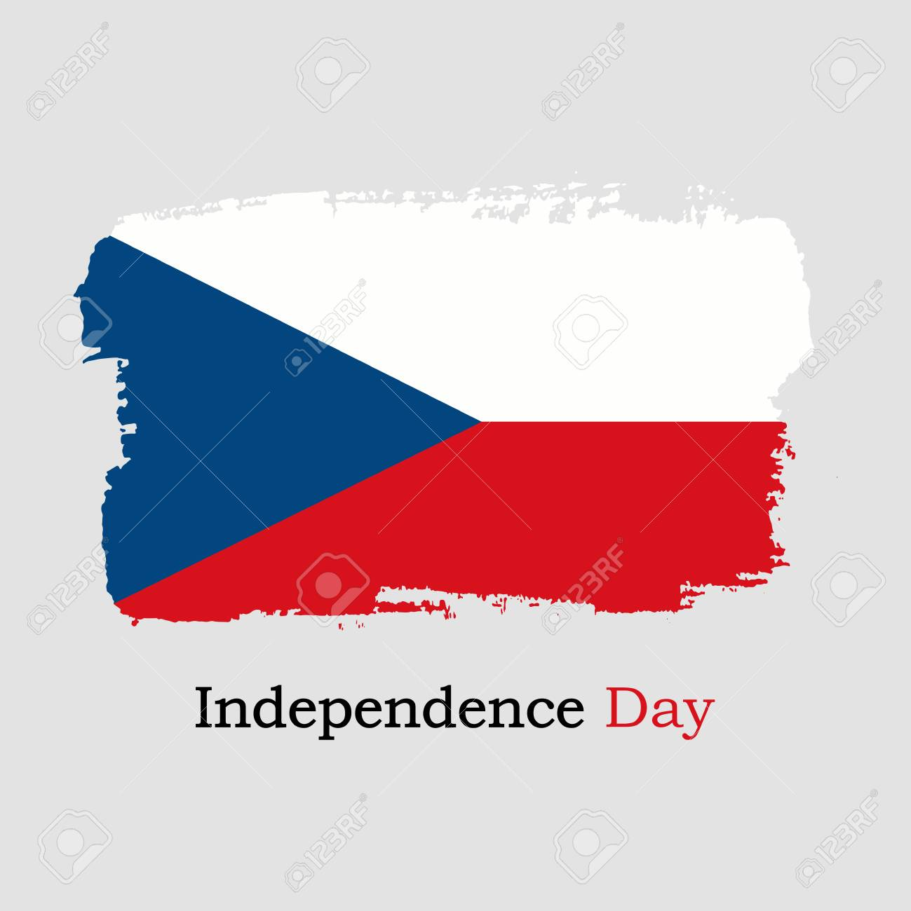 Vector Illustration Hand Draw Czech Republic Flag National