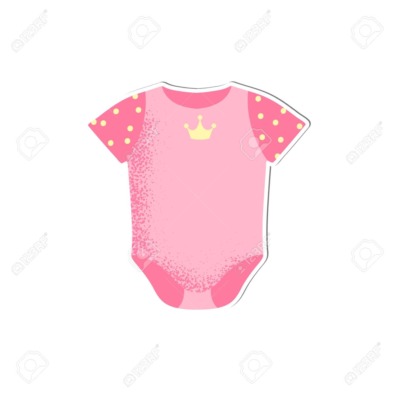 Baby Onesie With Crown For Girl Vector Isolated Cartoon Style