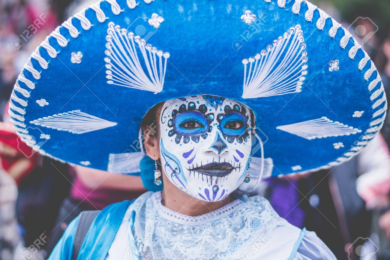 Woman Disguised As Charra In Blue With Catrina Make Up Stock Photo
