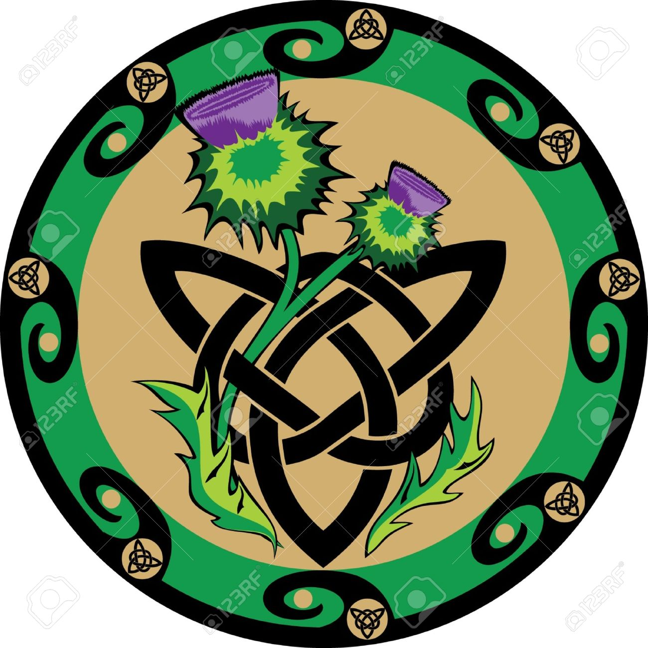 Thistle Flowers With Celtic Symbols Royalty Free Cliparts Vectors