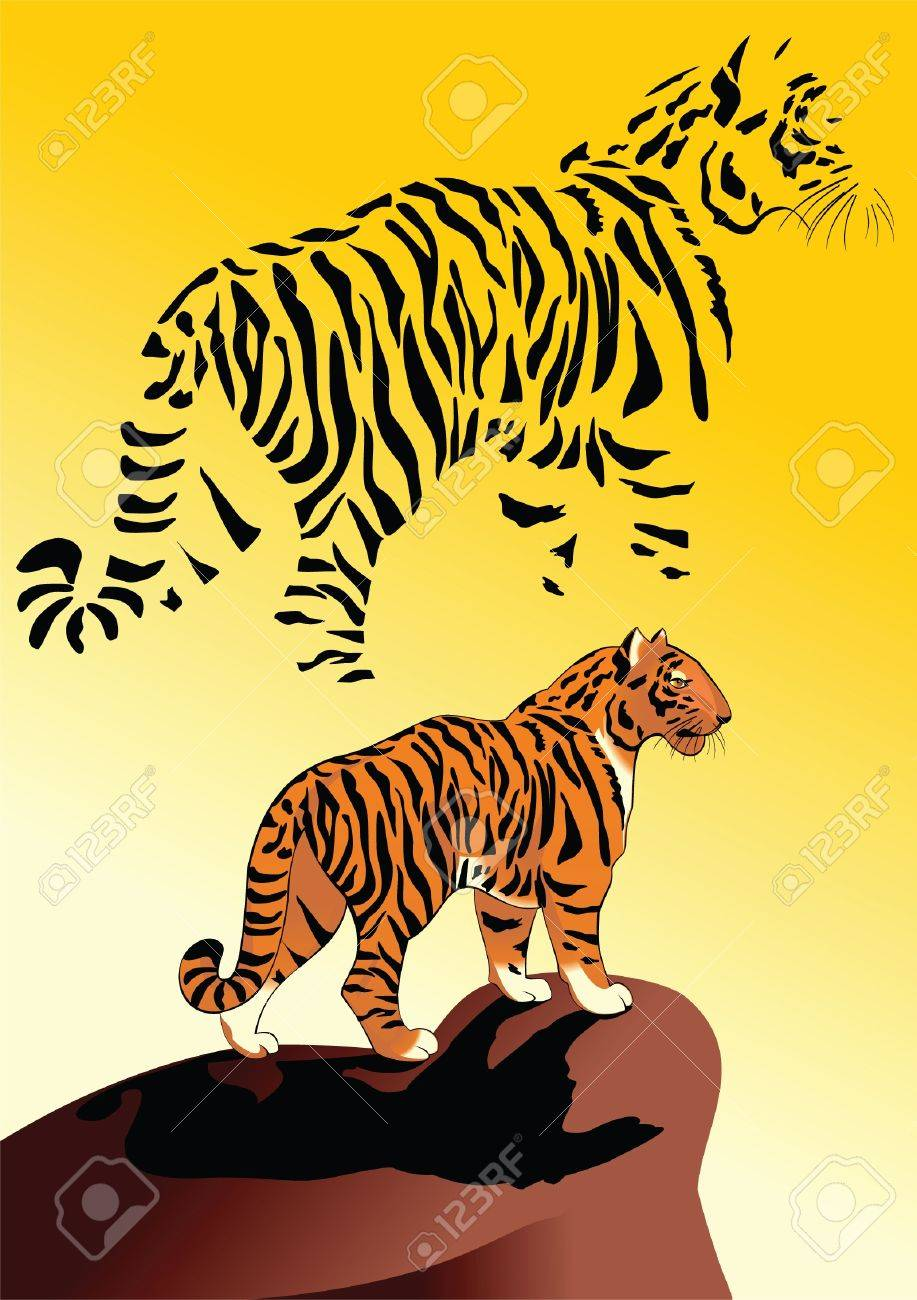 Tiger, watching from a high cliff Stock Vector - 9811027