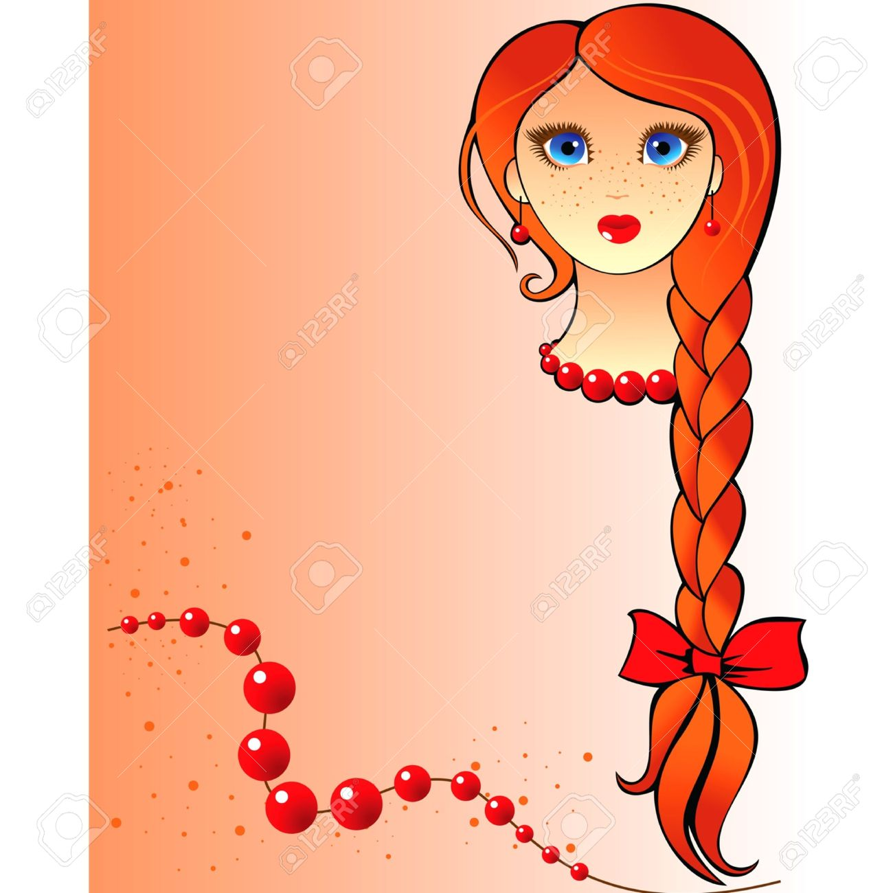 portrait of a red-haired girl with freckles and long braid Stock Vector - 11236654
