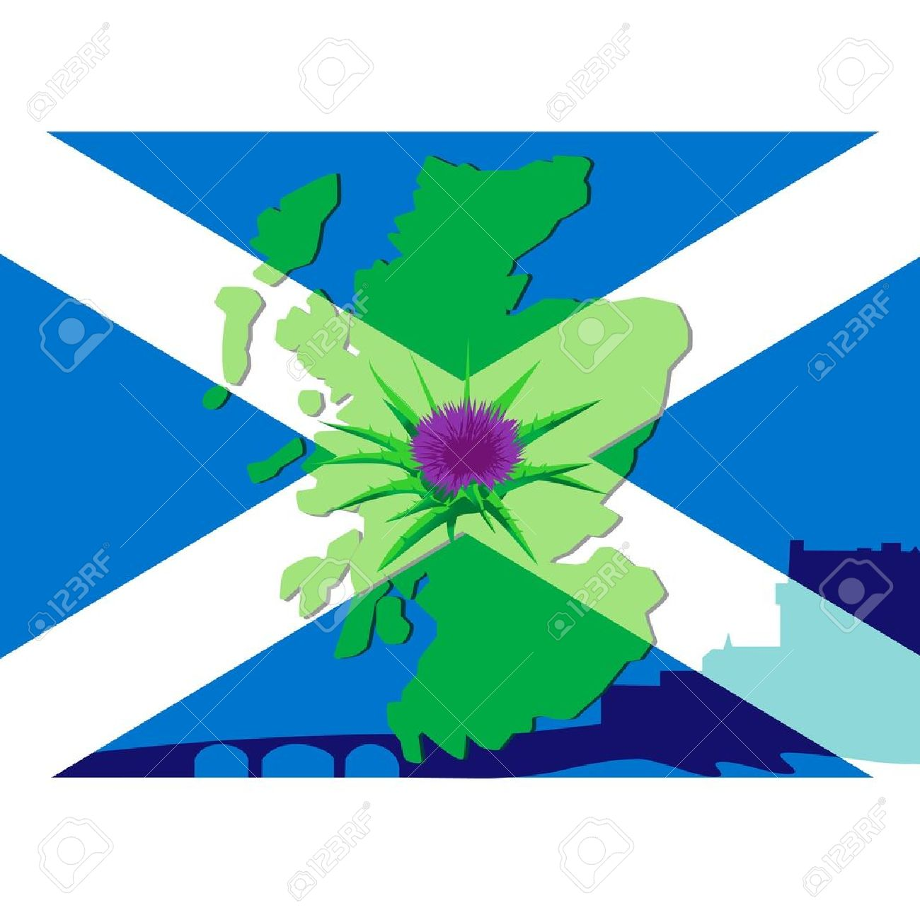 thistle flower on a background silhouette maps of scotland and