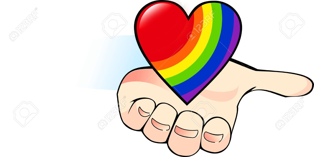 Rainbow heart in the palm a symbol of the gay royalty free rainbow heart in the palm a symbol of the gay stock vector 14381394 biocorpaavc Image collections