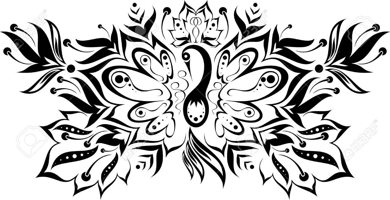Узор цветы черно-белый