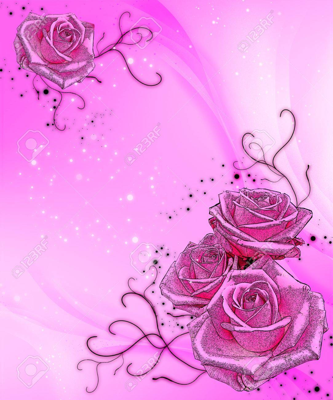 hot pink sparkle background with pink roses Stock Photo - 14749544