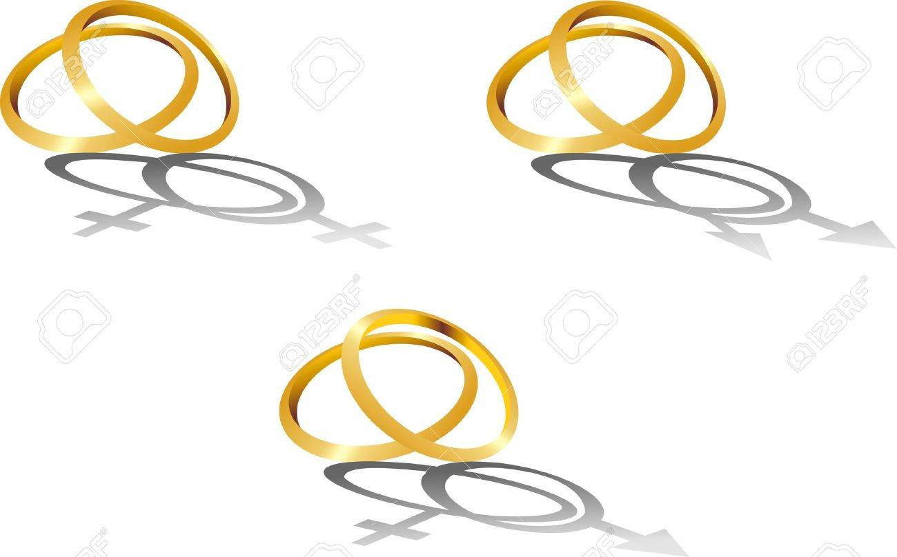 Isolated image of gold wedding rings with symbolic shadows Stock Vector - 16272544