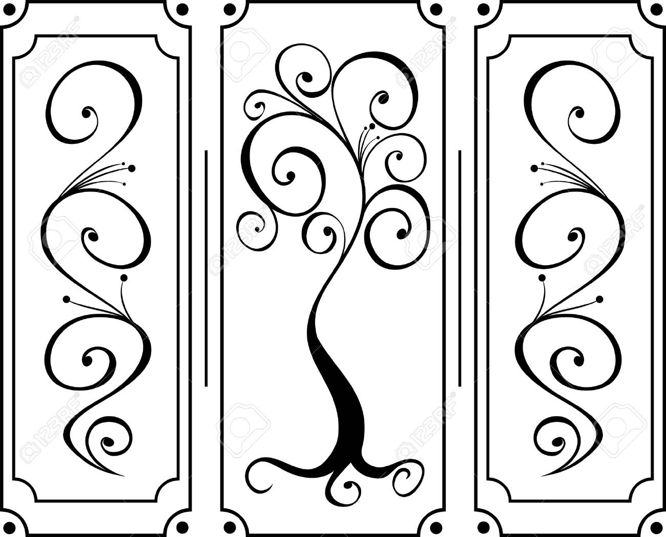 Black ornament with branches and swirls on isolated background Stock Vector - 16664258