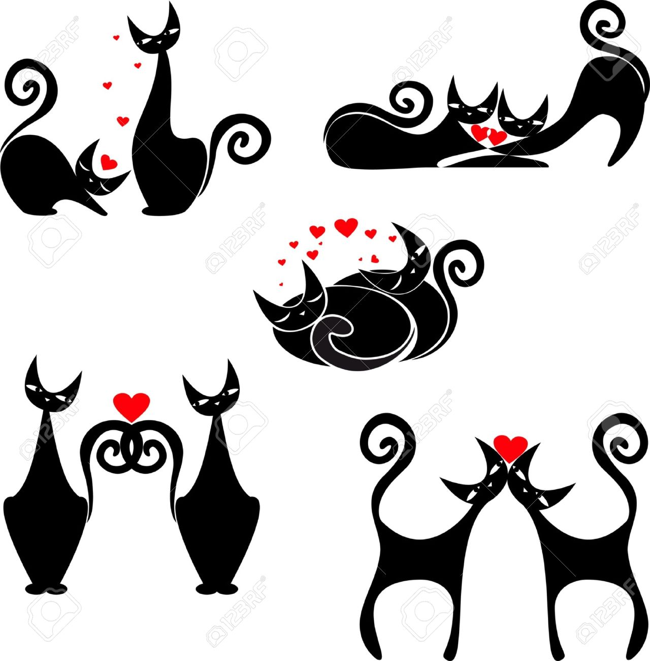 vector set of images of cats to St  Valentine s Day Stock Vector - 17420301