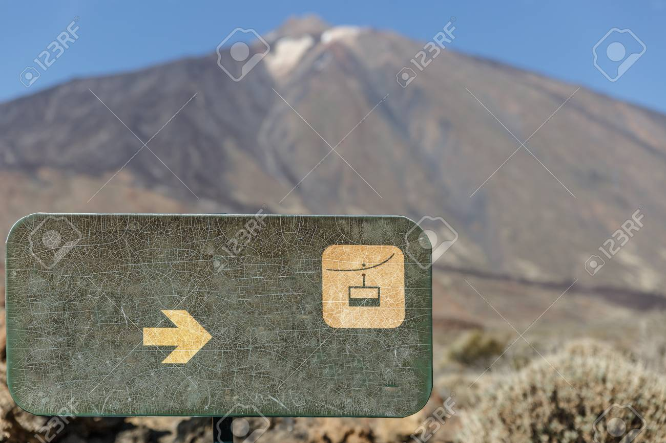 Green Placard With The Drawing Of A Cable Car, With The Teide ...
