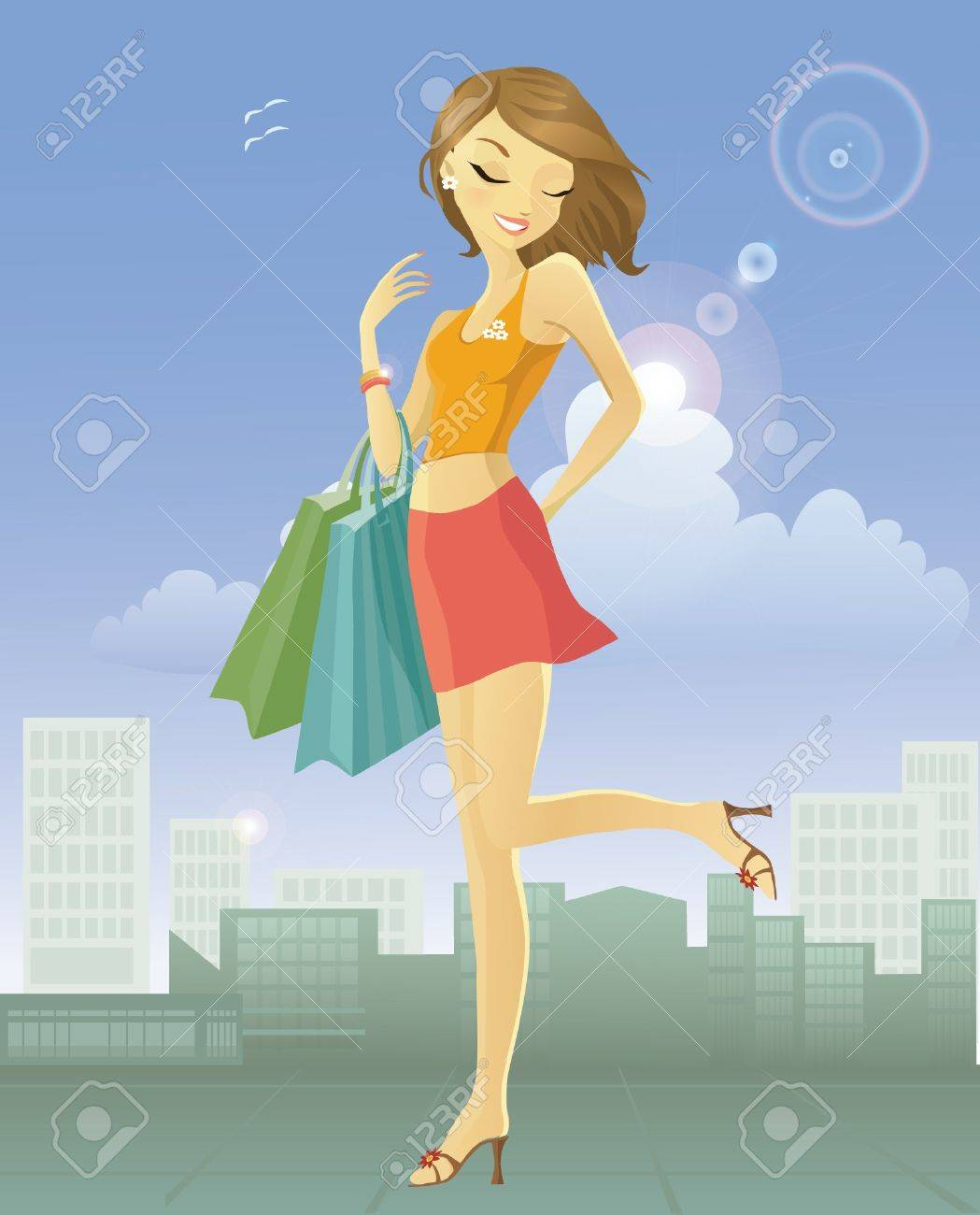 Happy young woman after shopping in the city - 9647356