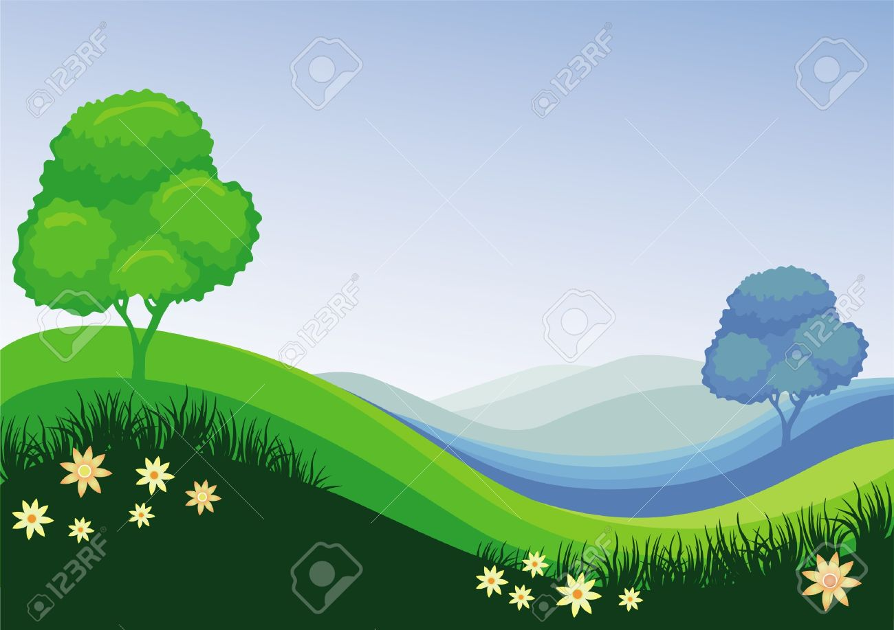 Nature green blue field background Stock Vector - 9699050