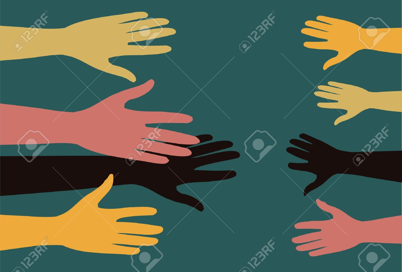 adult people stretched out their hands to help children - 9928571