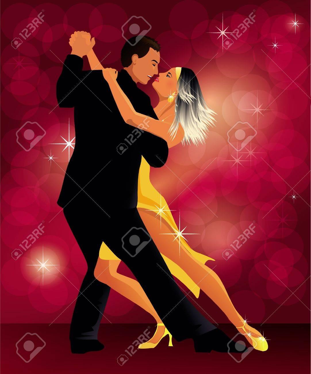 romantic couple dancing tango - 9928573