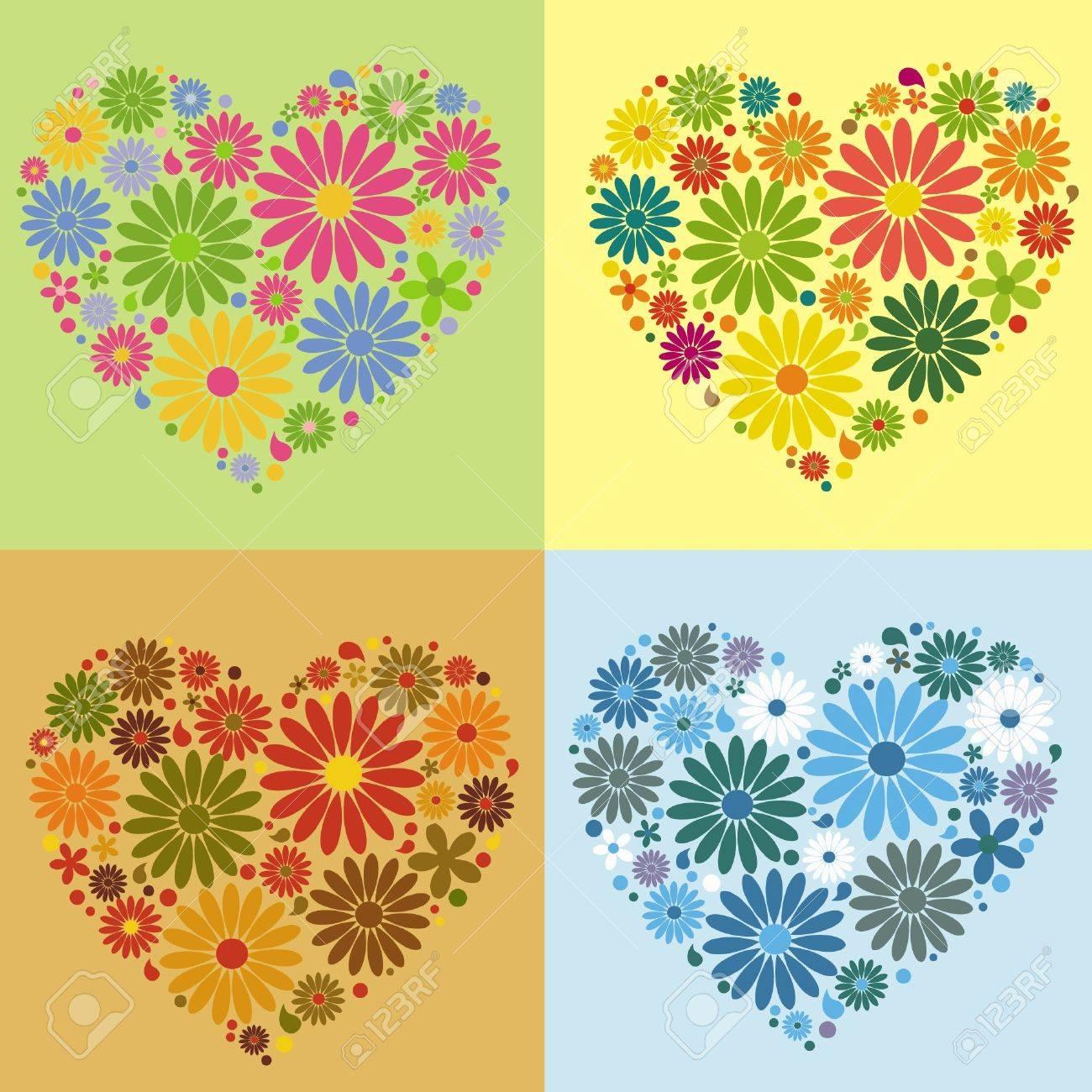 four floral heart - 10381538