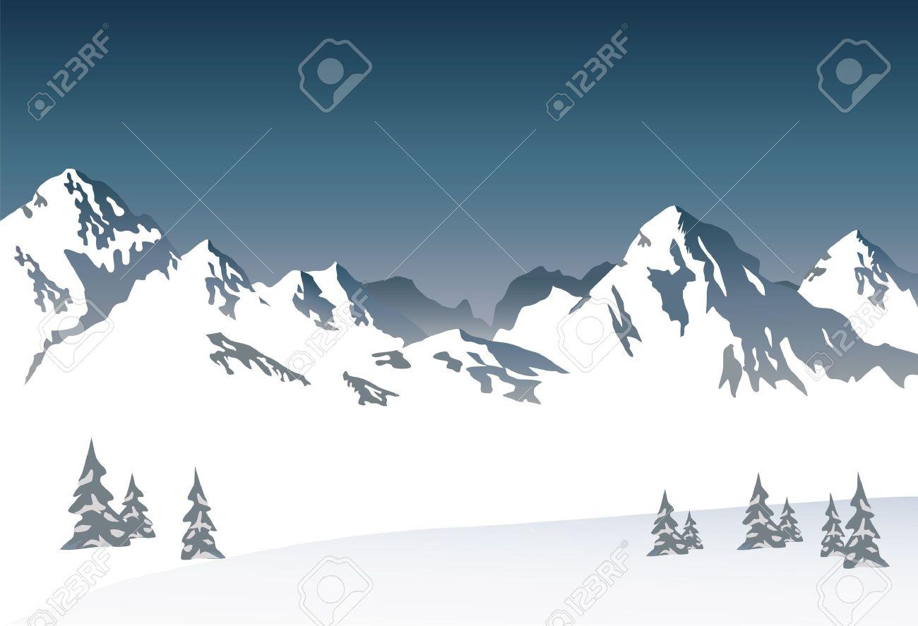 Montagne Enneigee Vecteur Clip Art Libres De Droits Vecteurs Et