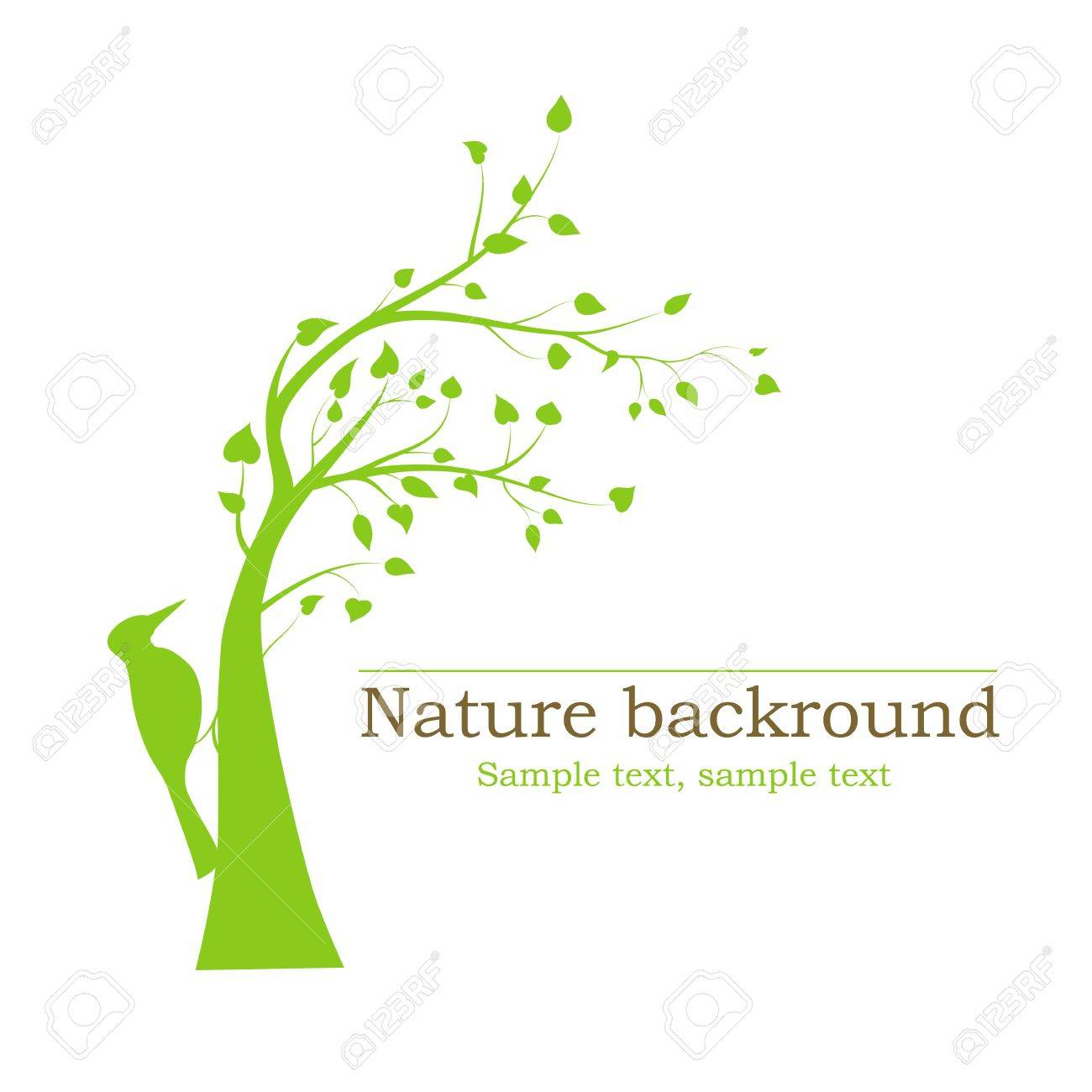 woodpecker on a tree - vector background - 16241050