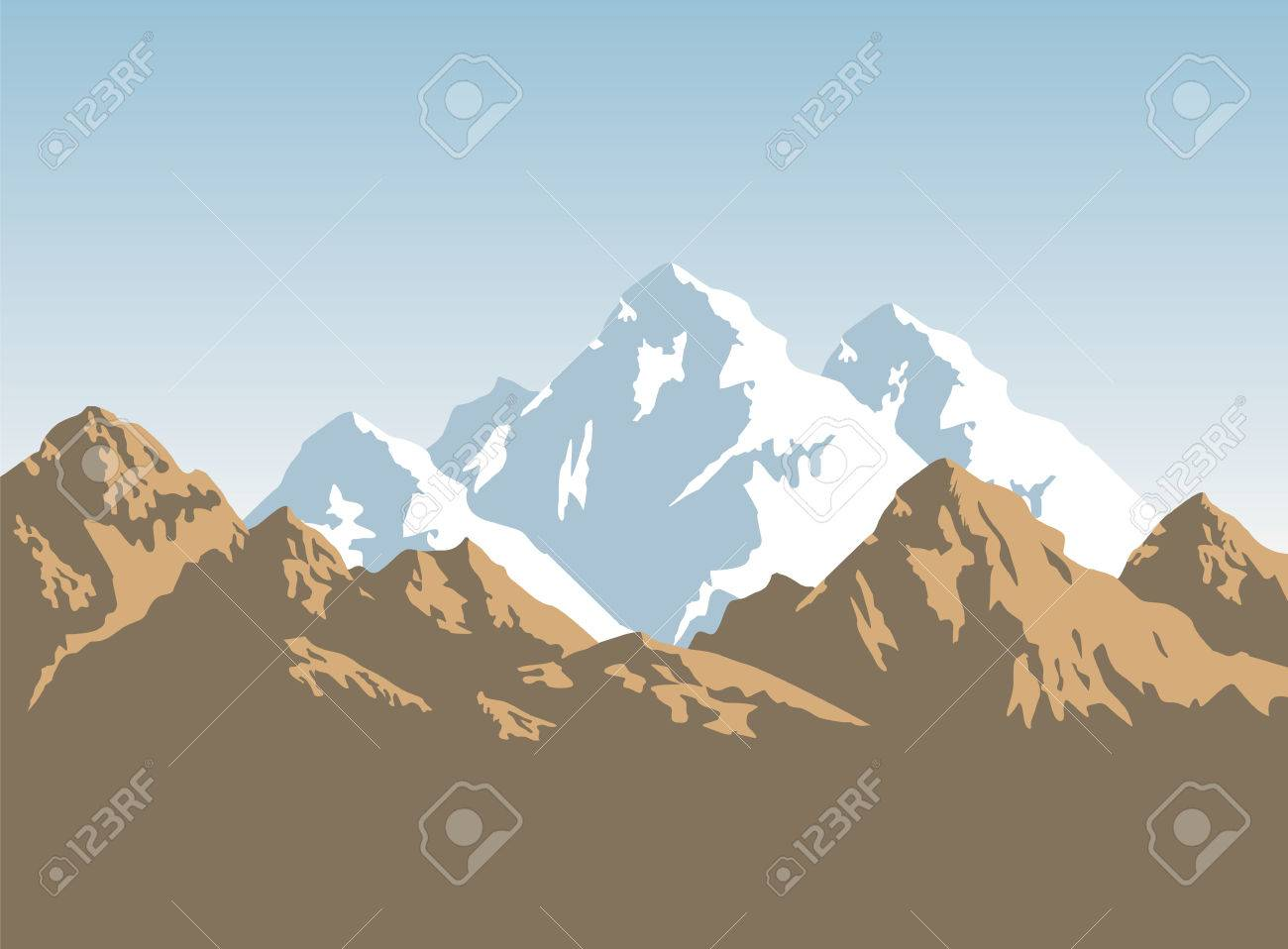 snowcapped mountains width brown rocks - background - 57919077