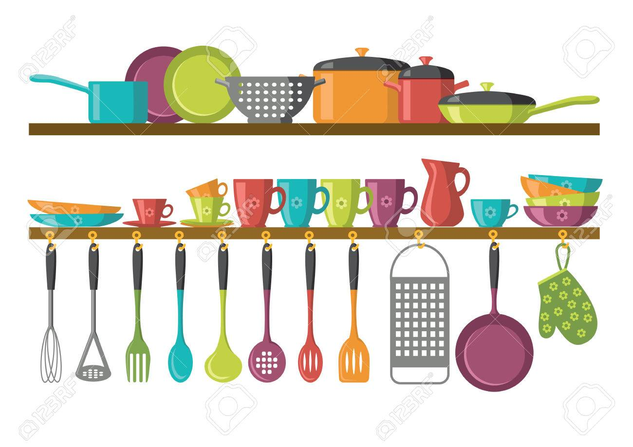 kitchen shelves and cooking utensils - 61406527