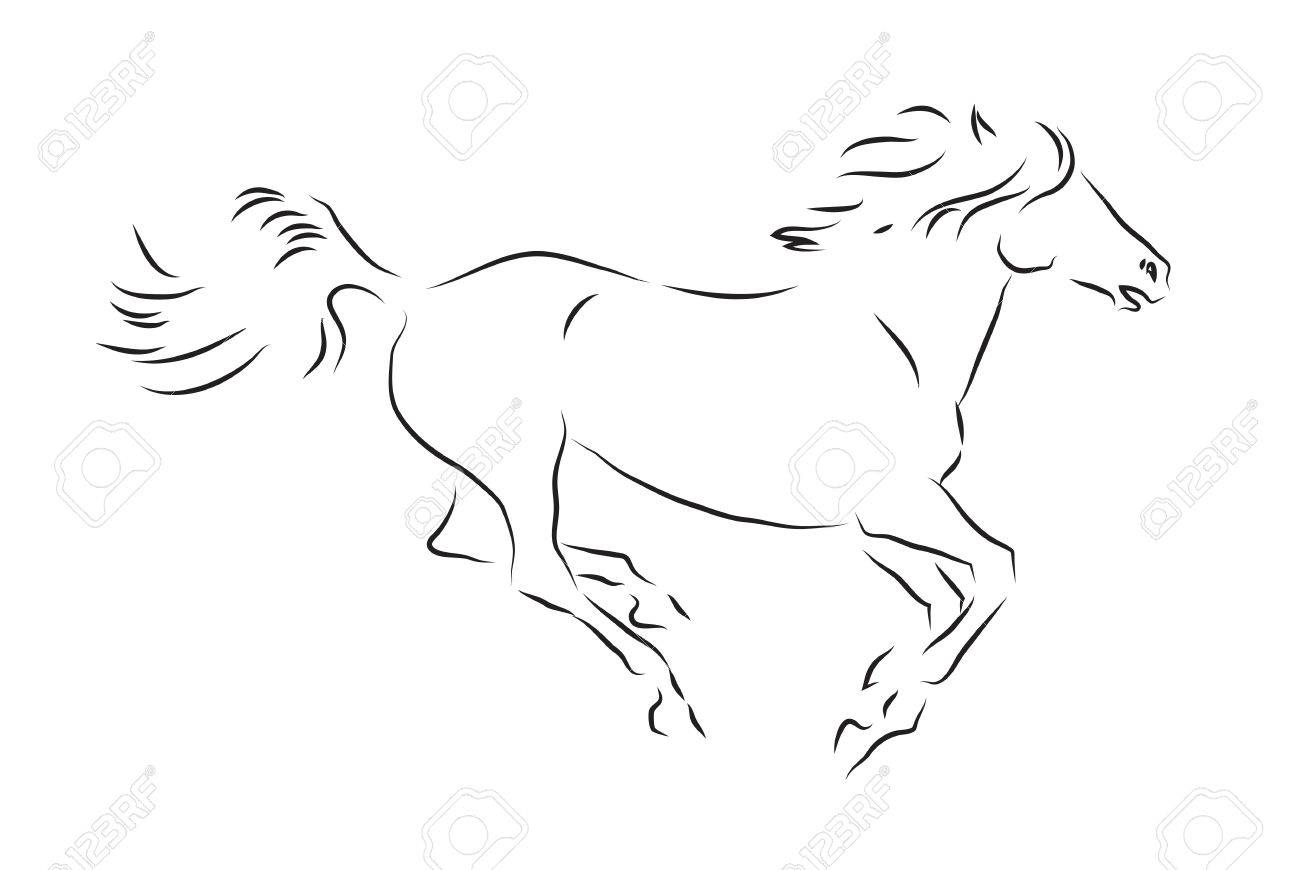 Sketch of silhouette of galloping horse - 61426194